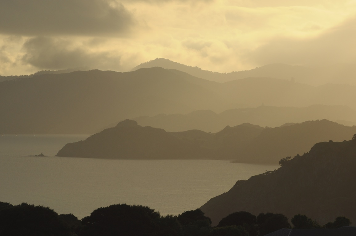 While taking this photo I met my first live Weka. View from the Flagstaff Memorial Russel, Bay of Islands. NZ.