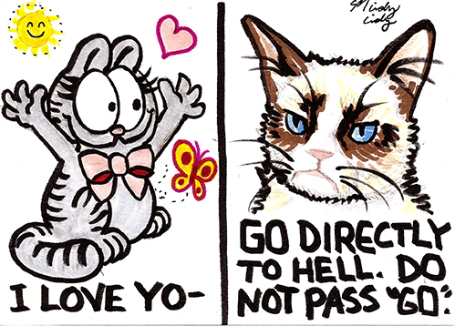 Nermal from Garfield.  I felt Garfield is kind of similar to Grumpy Cat, but Grumpy would still win.