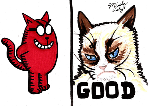 Of course Grumpy Cat would get along with Catbert, Evil HR Director.