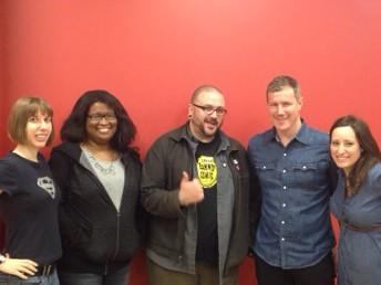 Left to right: Cartoonists Mindy Indy, Alitha Martinez, writer Matt Miner, cartoonist Andy MacDonald, and  Director of the Office of Student Development and Campus Life  at Berkeley, Nicole Turnbull.