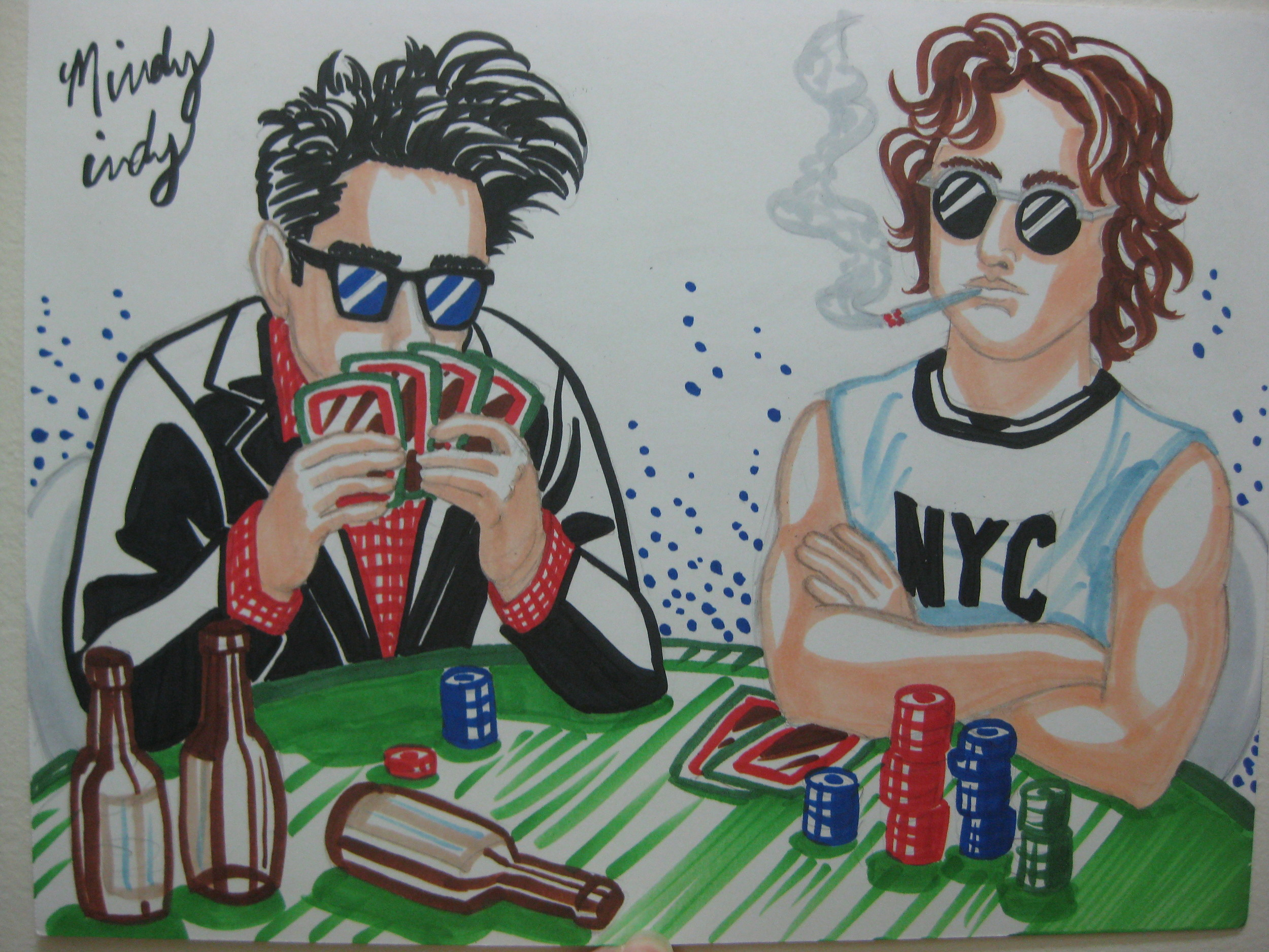 Morrissey VS. John Lennon at poker.  These are the kinds of awesome things that I can make happen!  Of course Morrissey is losing at the game, like he loses at life in all his emo songs :P