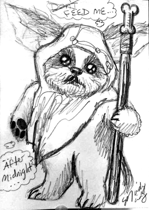 The Most Random Sketch Award goes to this dog as an Ewok-Gremlin!