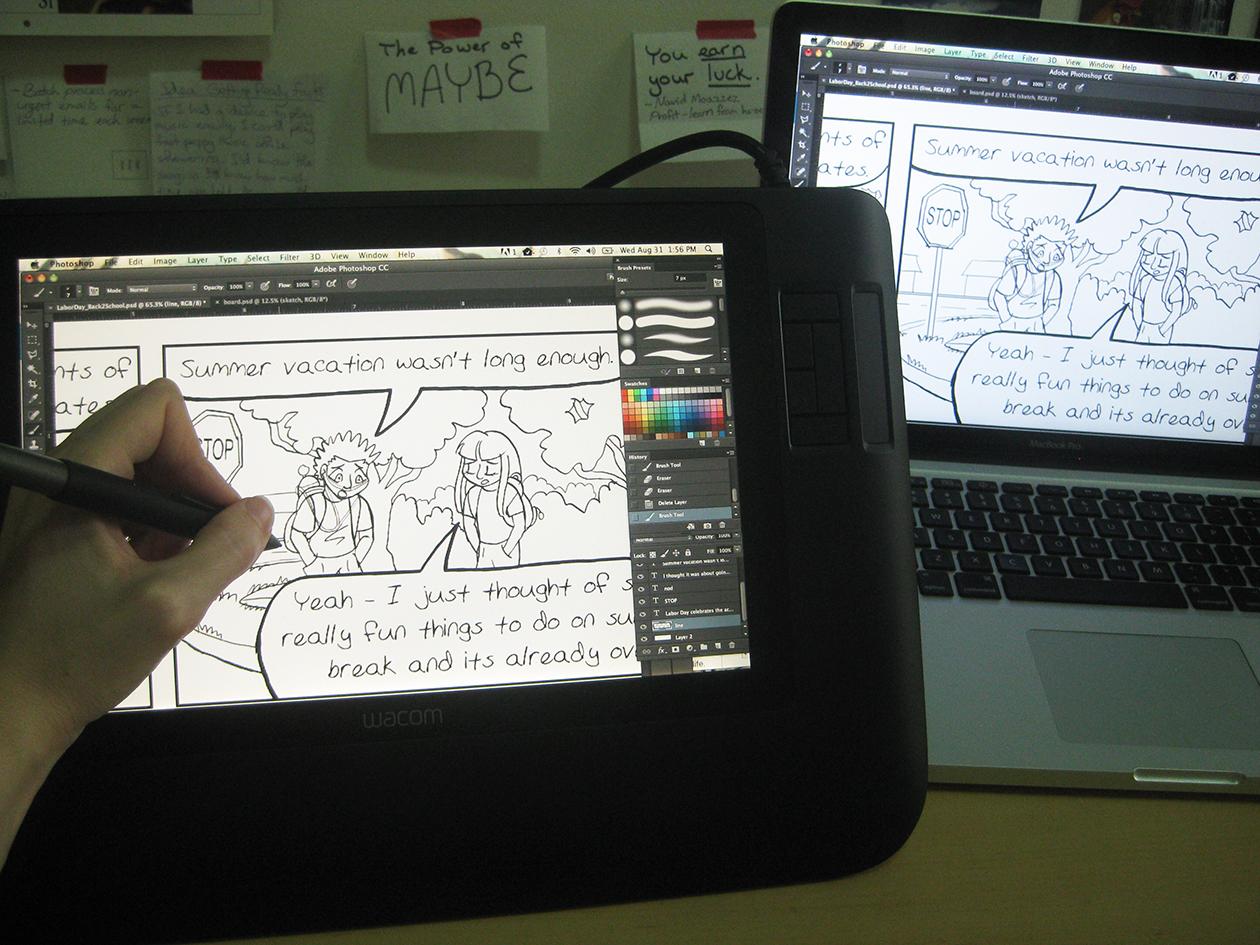 "The Cintiq screen ""mirrors"" my Mac's screen."