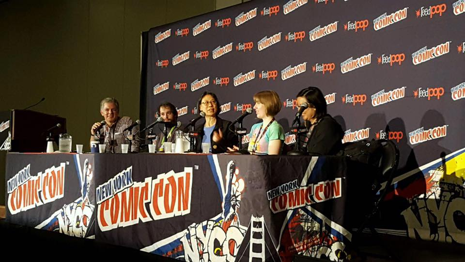 The Papercutz team on the Charmz School panel at NYCC 2016!  Left to right:  Sven Larsen (marketing), Jeff Whitman (editorial), Janice Chiang (letterer), Mindy Indy (penciler/inker/colorist), Amy Chu (writer), and not pictured is Jay Jay Jackson (penciler/inker/colorist) who joined us later in the panel!