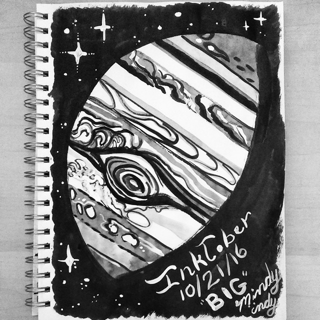 """The #inktober sketch with the most """"likes"""" on Instagram (21): Jupiter for the BIG theme on 10/21/16. Ink wash!"""