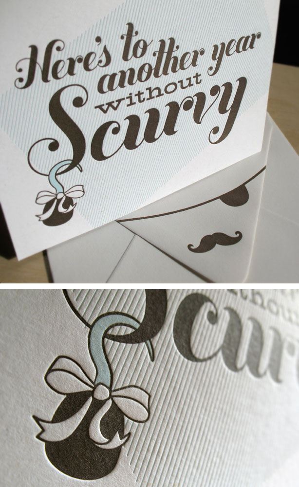 Typography Letterpress Holiday Card