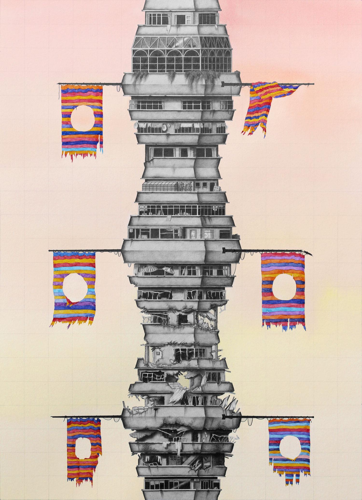 BA DA, DODA (THE TICKLISH SUBJECT) - Watercolour and pencil on archival paper30 x 42 cm2017
