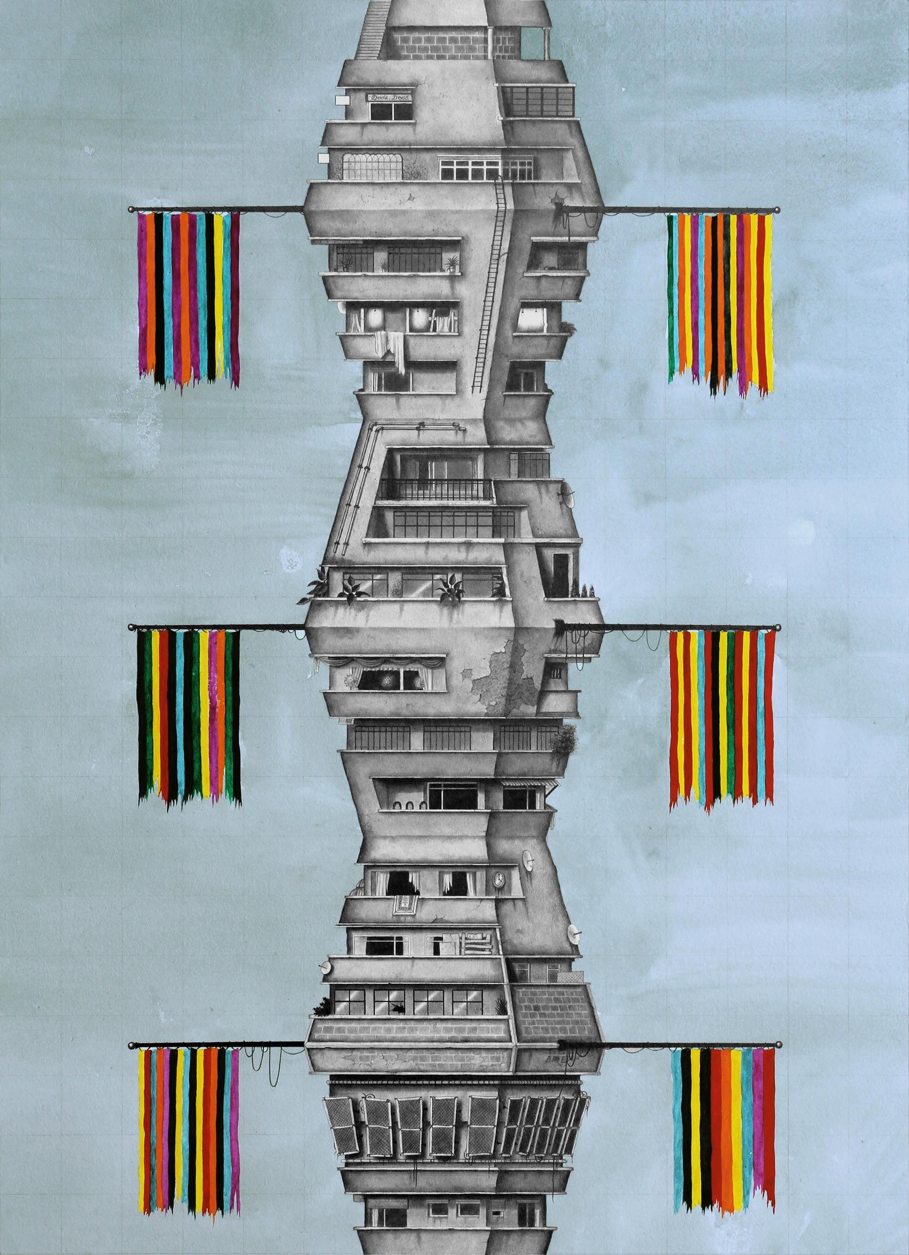 BA DA, DODA (A ROUTINE PARADE) - Watercolour and pencil on archival paper30 x 42 cm2017