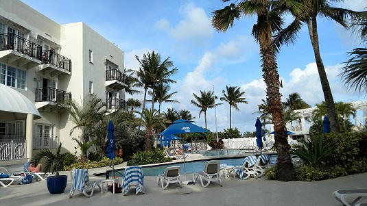 """WOW - this pool! The foreground pool is the 9ft deep saltwater pool - perfect for diving! We also deemed it the """"adult pool"""" since it was a little too deep and cold for some of the kids on the pool deck :)"""