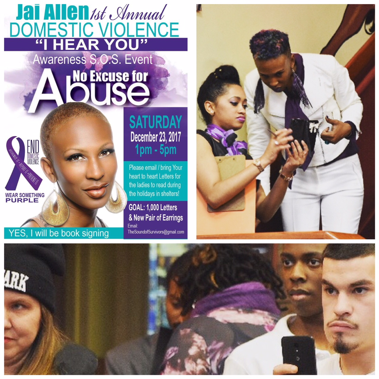 "Creative Coordinator & Host of Jai Allen's 1st Annual Domestic Violence Awareness Event ""I Hear You"" (Jai Allen is a National Advocate of Domestic Violence and Author of 5 Books)"