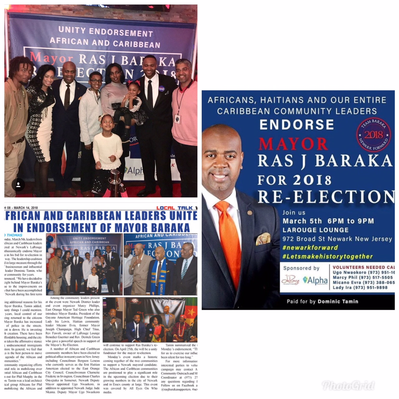 Assisted Creative Coordinating African & Caribbean Community Leaders of Newark, NJ endorsement of Mayor Ras J. Baraka.