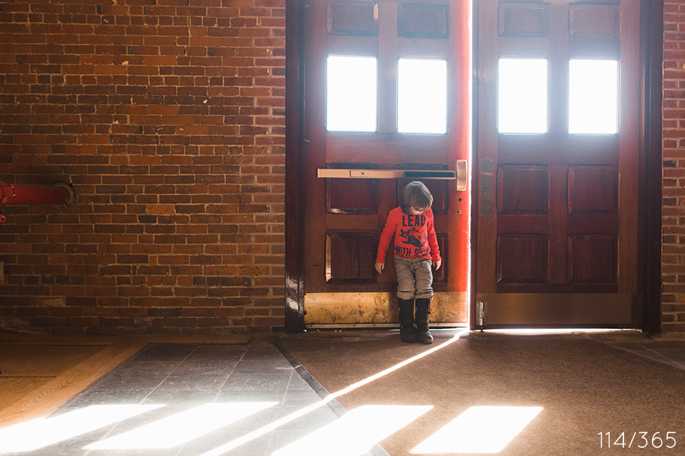 Playing with light at Fort Andross. I love how you figured out that opening up the door just a bit added a sliver of light to the floor. You played hopscotch in the rectangles, and had so much fun.