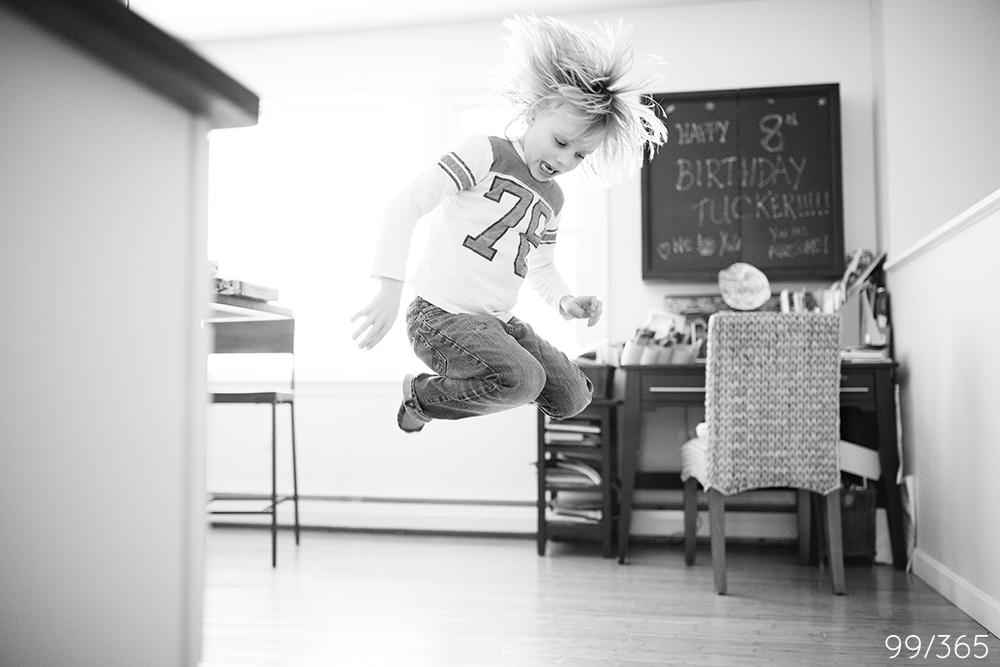 jumping for joy, birthday boy