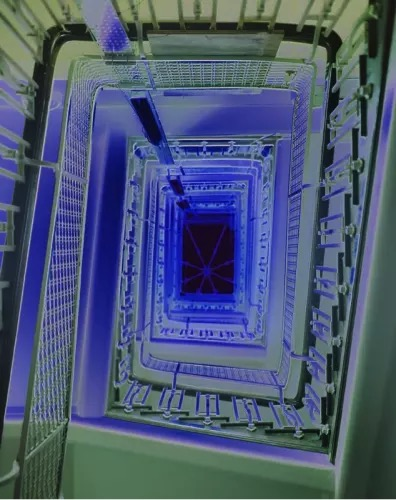 Catherine Yass Royal London (stairwell) 2013 Duratrans transparency, lightbox Represented by: Alison Jacques Gallery