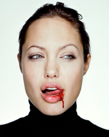 1. Martin Schoeller  2. Angelina with Blood, from the series Close Up series  3. 2000  4. Chromogenic print  5. Represented by The National Portrait Gallery