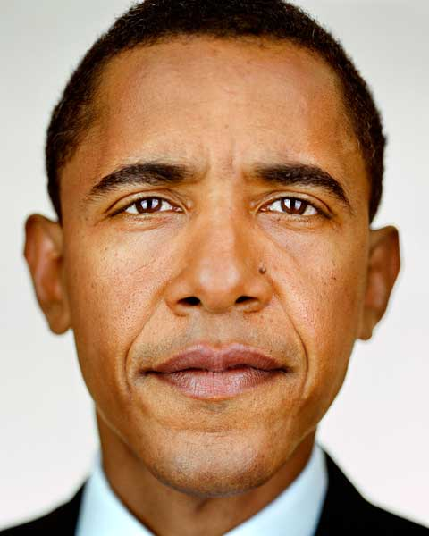 1. Martin Schoeller  2. Barack Obama  3. 2004  4. Archival Pigment Print  5. Represented by The National Portrait Gallery