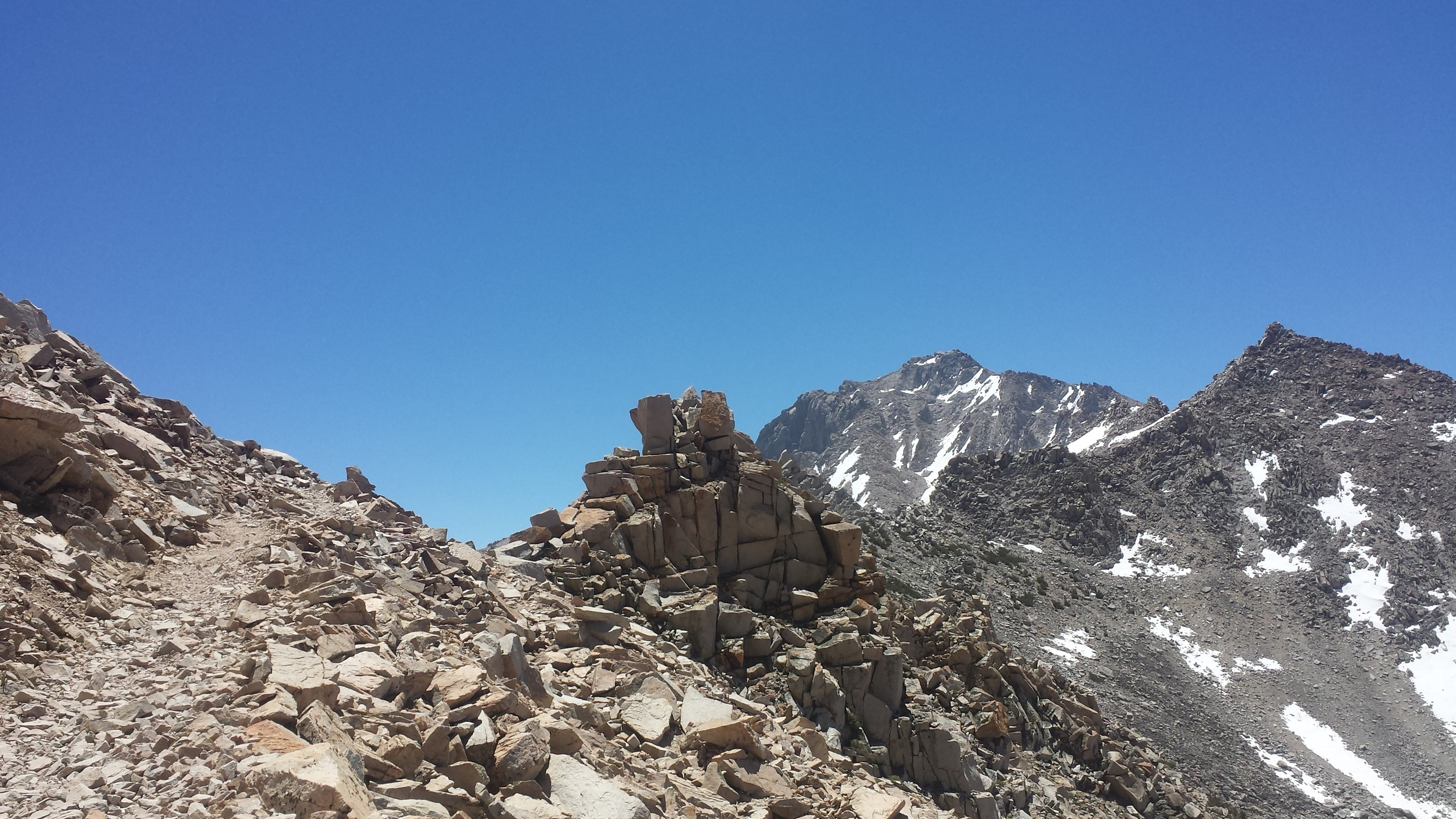 Cubist rock pile atop Kearsarge Pass