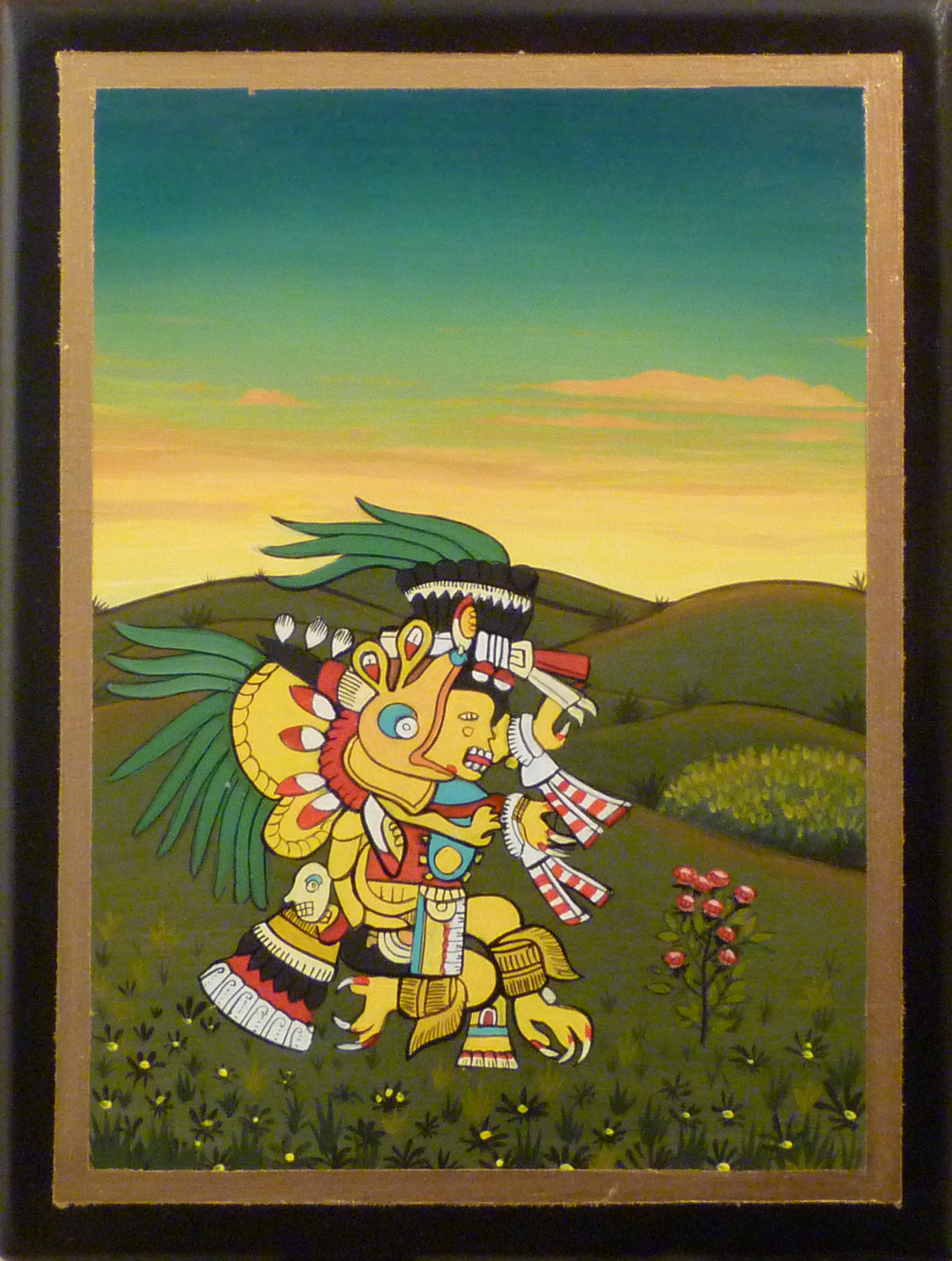 Gathering Ingredients at Dusk 2011 acrylic and metal leaf on panel 8 x 6 inche s   available at the 13FOREST Gallery