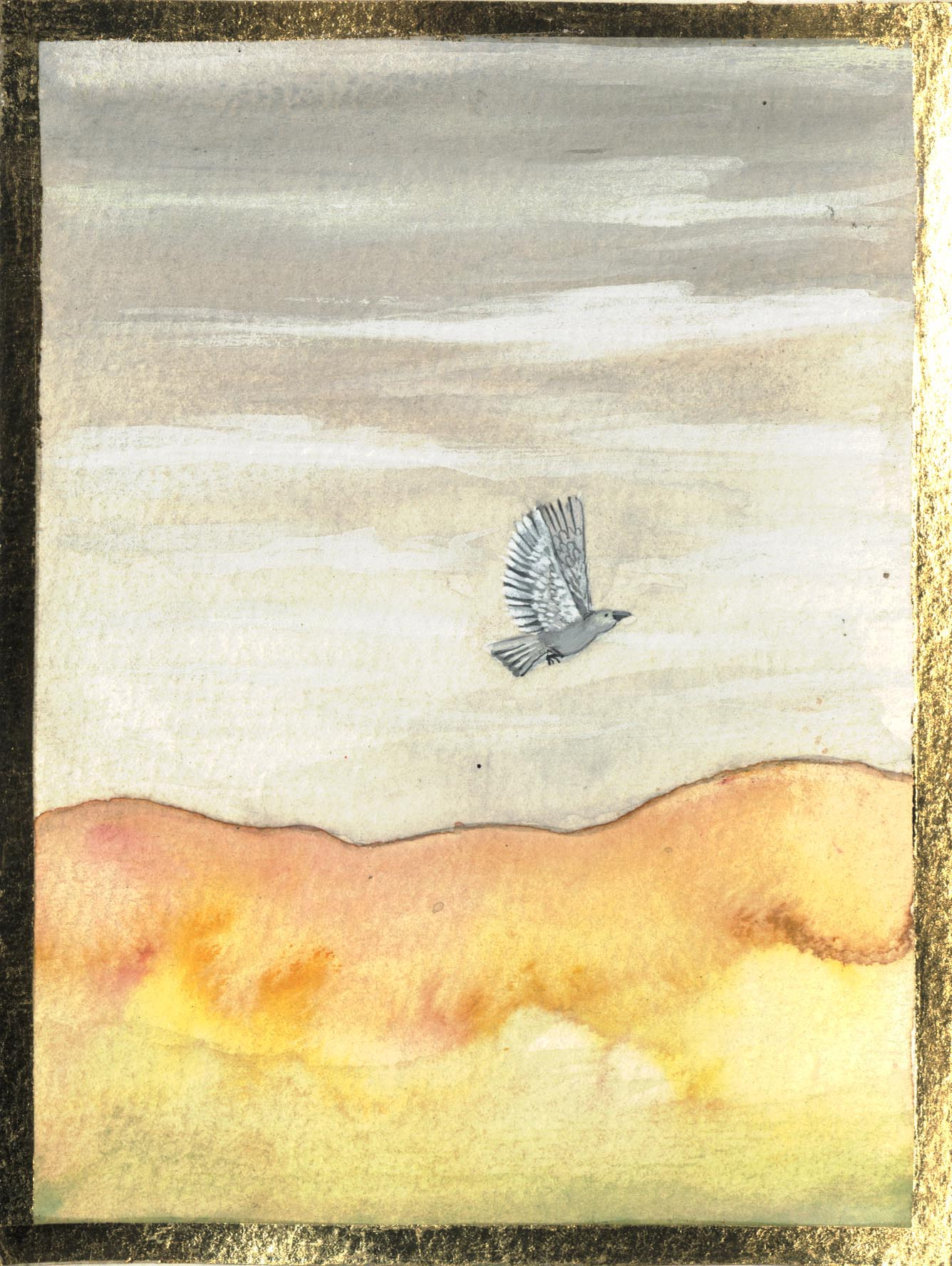 Lone Bird 2007 gouache on paper 6 x 4.5 inches