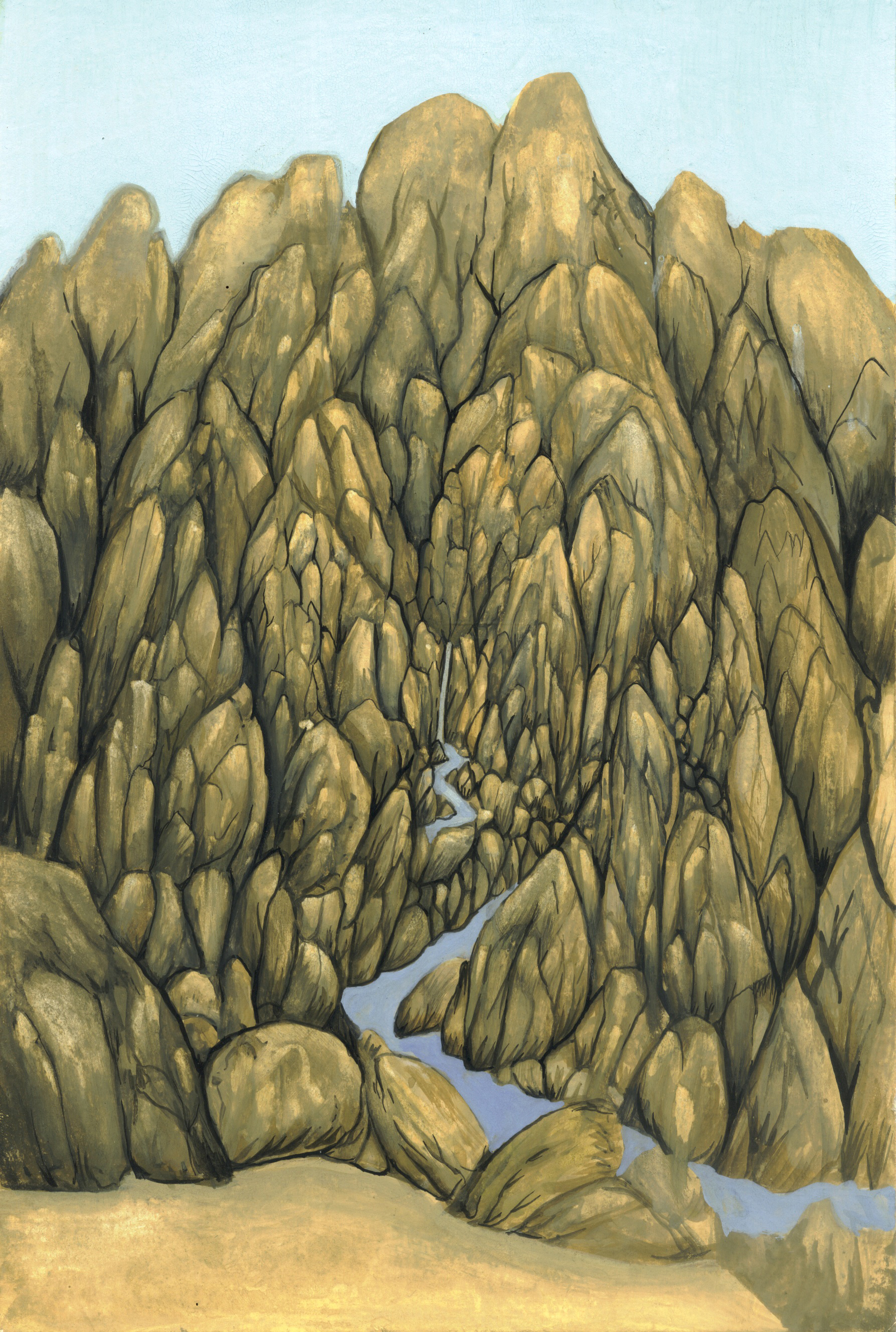 Stream mountain 2007 gouache on paper 9 x 6 inches