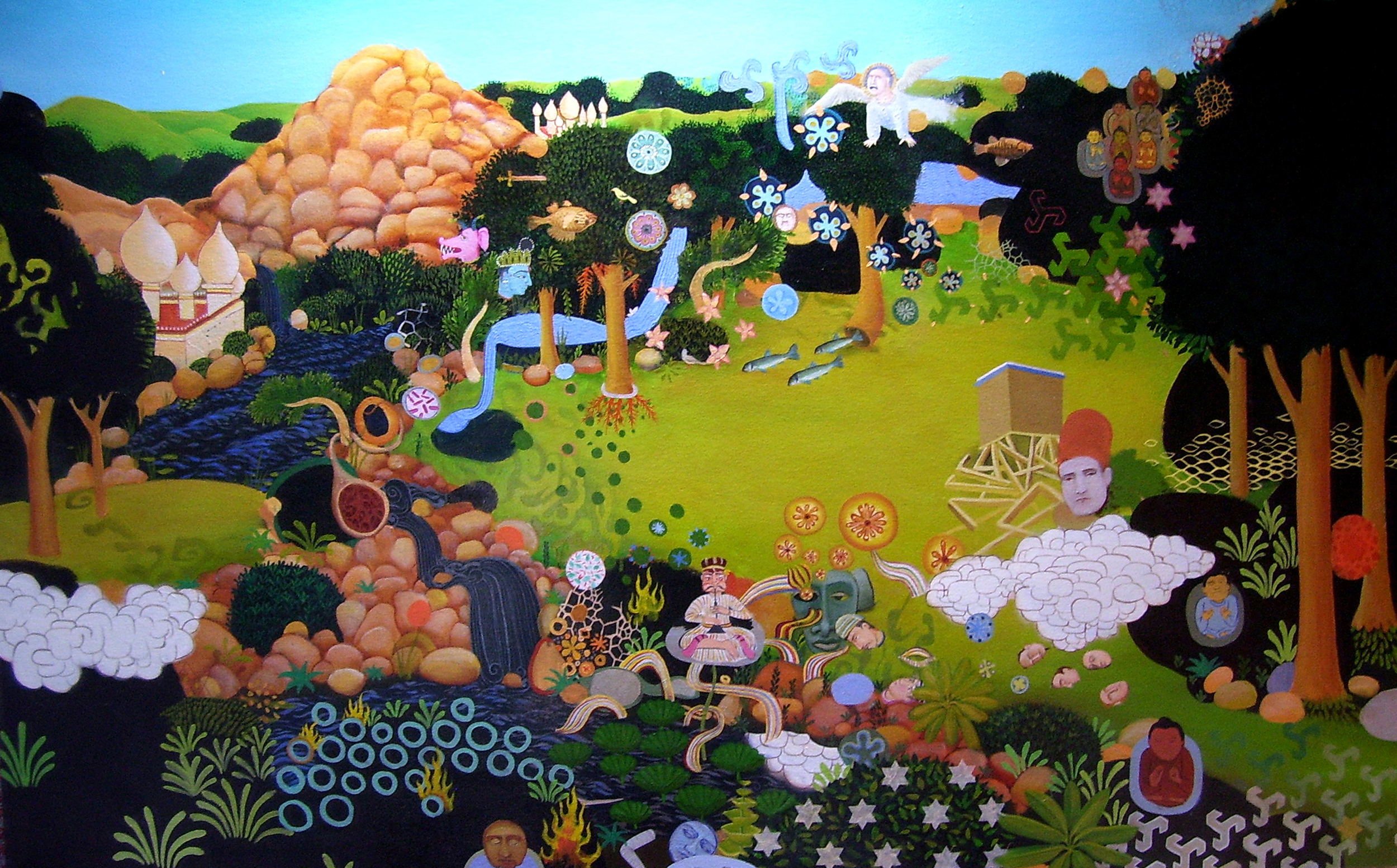 Saturday Afternoon in the Land of the Gods 2004 oil on canvas 46 x 72 inches