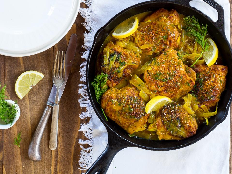 Braised Chicken Thighs w/ Lemon & Dill - an easy weeknight dinner recipe
