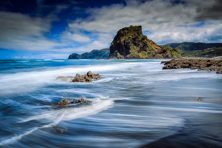 Piha's main beach looking towards Lion Rock