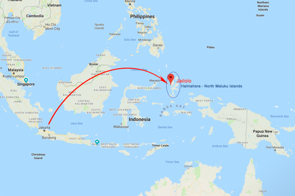 The route: I flew from Auckland to Brisbane (3.30hrs) to Jakarta (8hrs) to Ternate (4hrs), then took a speedboat ride (2hrs) to reach Jailolo.