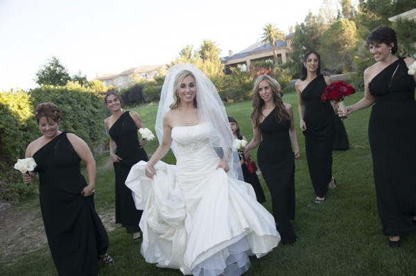 Bridesmaids wore black to this Las Vegas wedding at Southern Highlands Golf Club