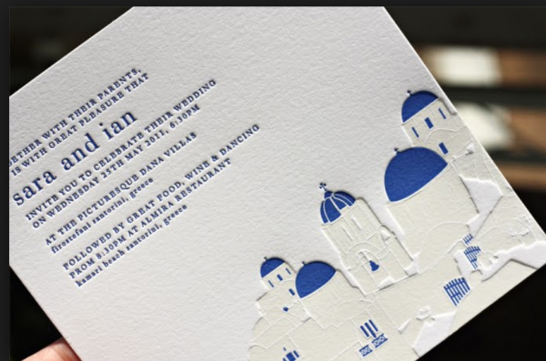 Here, the grecian trend goes literally with a city scene. Photo courtesy of OhSoBeautifulPaper.com.