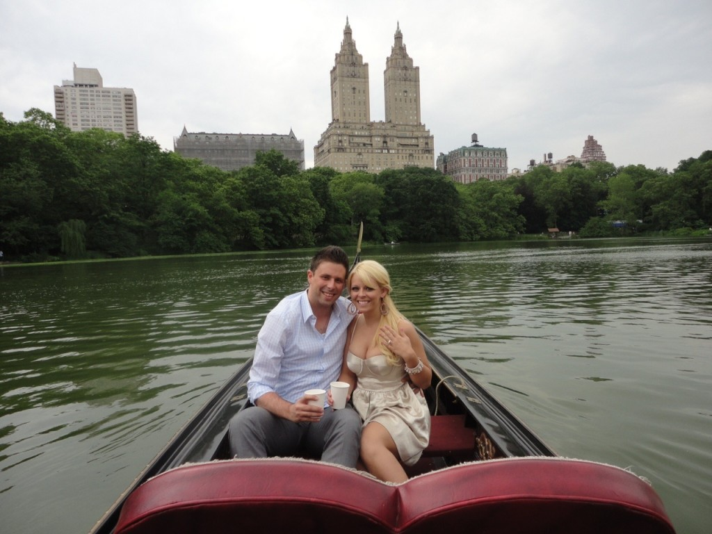 Rebecca & Andrew getting engaged on The Lake in Central Park.