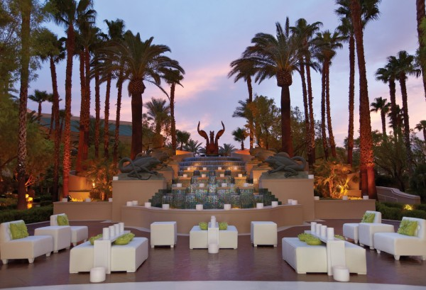 Fountain Terrace set for a wedding at the Four Seasons Las Vegas.