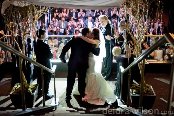 The First Kiss - Laura & Adam hosted their wedding at Body English in the Hard Rock Hotel Las Vegas.