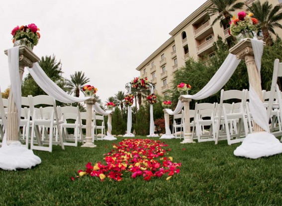Ceremony on the lawn at the JW Marriott in Summerlin.