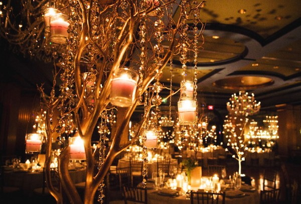 Hanging Candles in Manzanita Branches.  Courtesy of Wedding Girl in Canada.