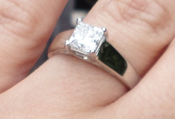 Rebecca's ring is a Princess Cut Solitaire.