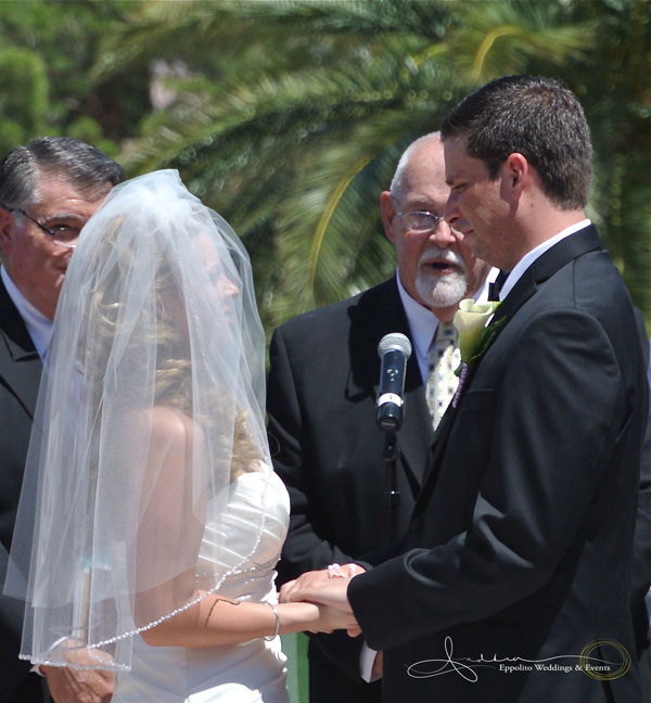 Wedding Vows at The M Resort.  Andrew's father lead the ceremony, sharing officiating duties with a life long friend who lives here in Nevada
