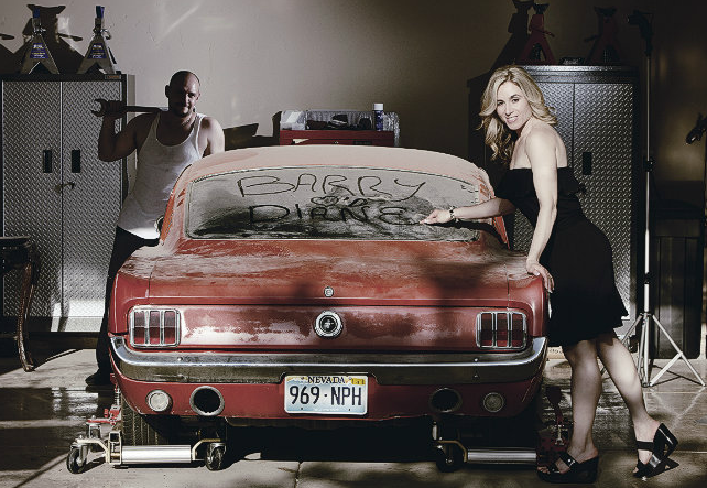 Diane & Barry took engagement photos with his vintage Mustang. Photo by www.altf.com.