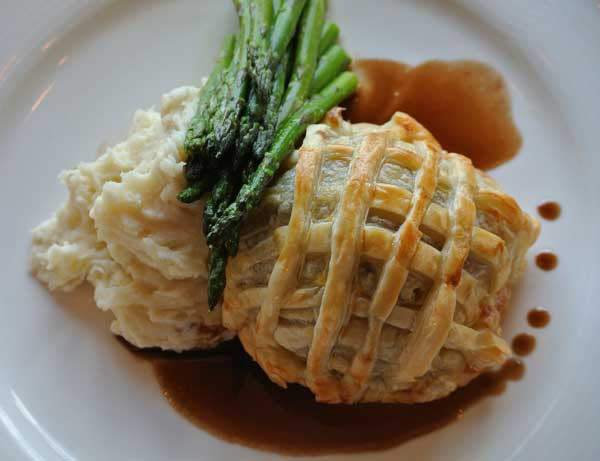 We eat with our eyes first! When planning your entree, seek out dishes that look as amazing as they taste. A traditional filet is elevated and unexpected when wrapped in puff pastry and served an individual Wellingtons.