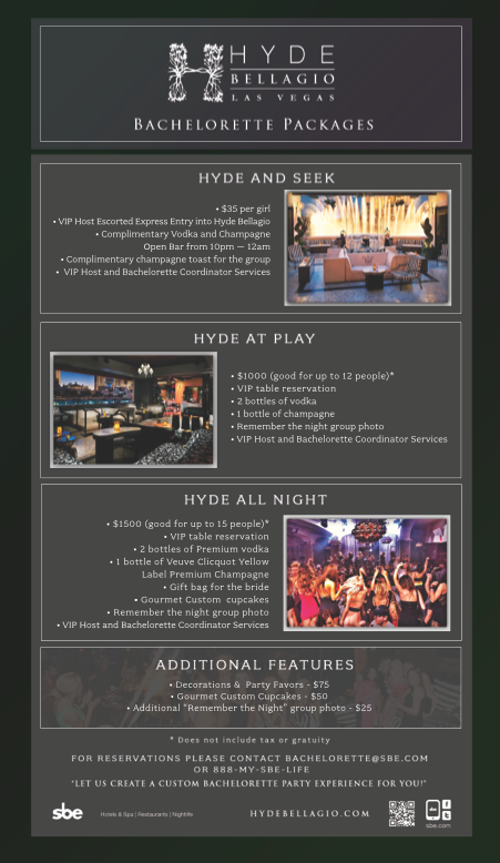 Hyde Bellagio offers packages for Bachelor & Bachelorette Parties in Las Vegas.