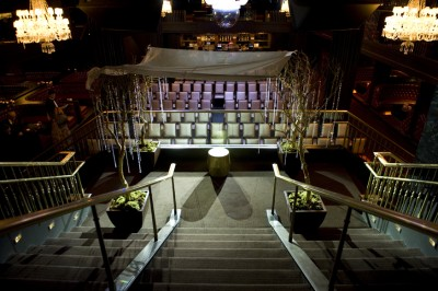 The view from the top of the staircase at Body English. Wedding at the Hard Rock Hotel.  Photo by www.deidrawilson.com.