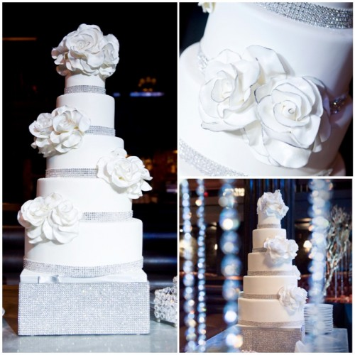 The five tiered Swarovski crystal wedding cake by Gimme Some Sugar was the talk of the night!  Wedding at the Hard Rock Hotel.  Photo by www.deidrawilson.com.