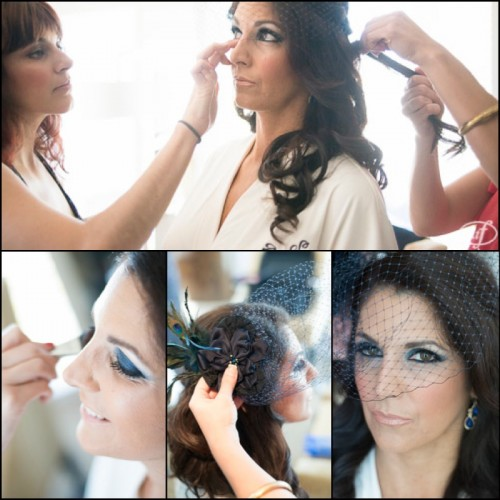 Vibrant blue eye shadow and a classic nude lip were all Sabrina needed to transform into a stunning, superhero bride!