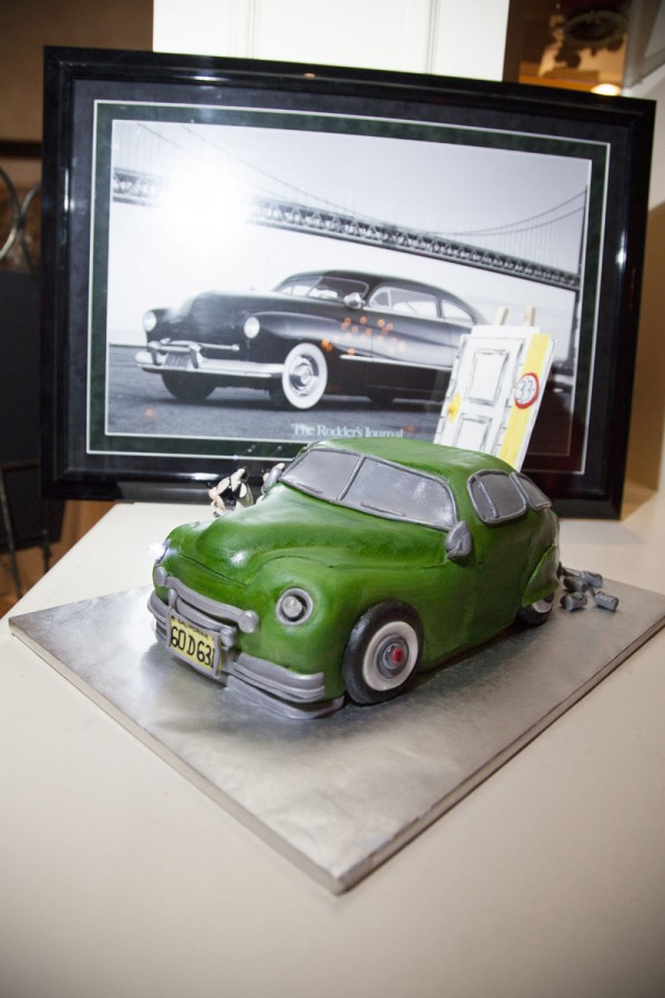 The groom's cake, but Sugars Bakery, was in the form of a mustang. His grandfather had been one of the car's designers. Photo by www.altf.com.