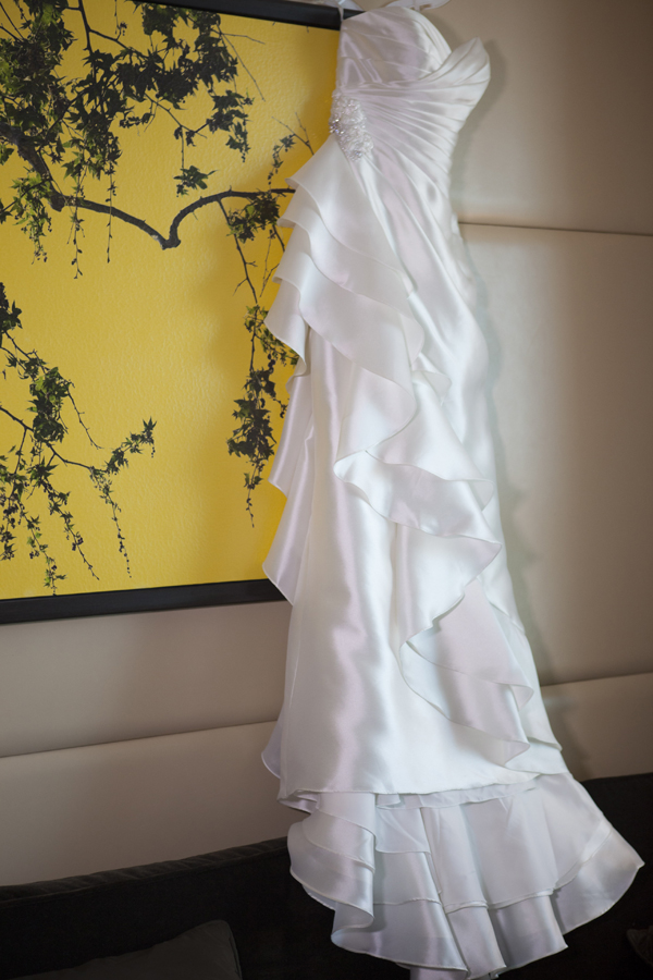 The bridee's ruffled wedding dress was soft and romantic.