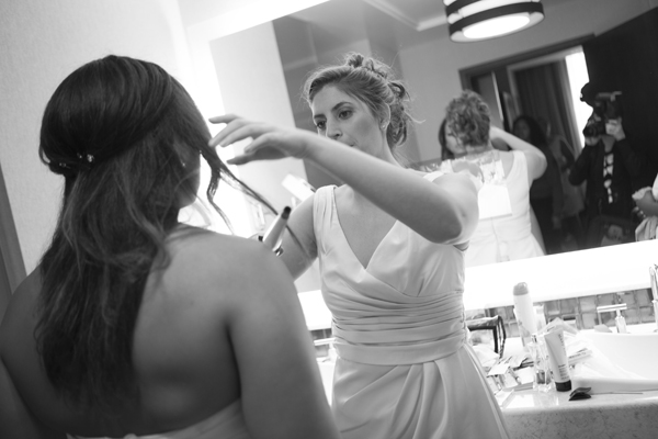 Ashley kept the day low key, having her bridesmaids help with her hair and make up. Photo by www.altf.com.