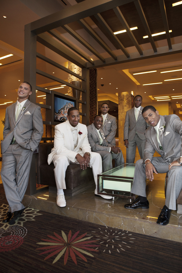 While the girls were upstairs, the groom and his friends gathered in the lobby of the Aliante. Photo by www.altf.com.