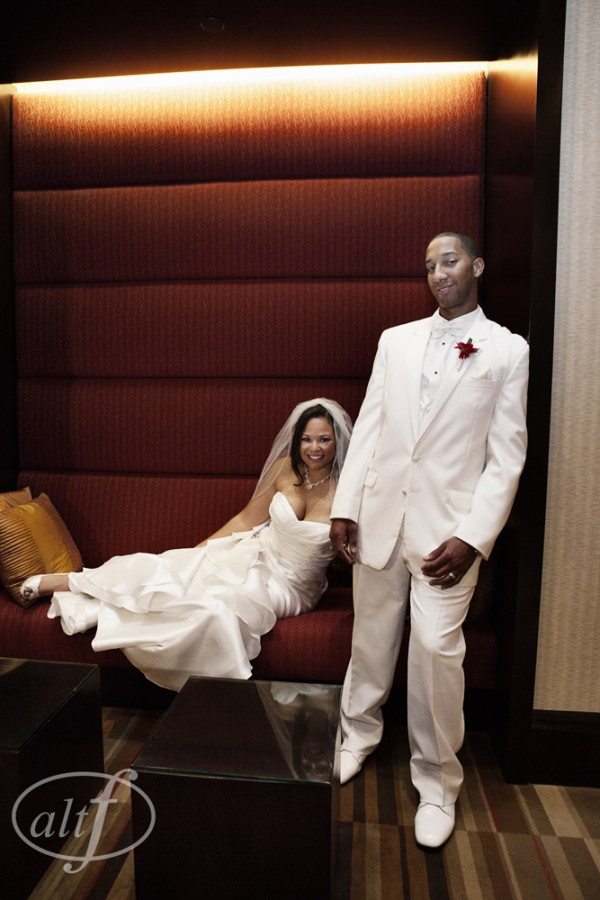 Military Couple Ashley & Ronnie hosted their wedding at the Aliante Resort in North Las Vegas.