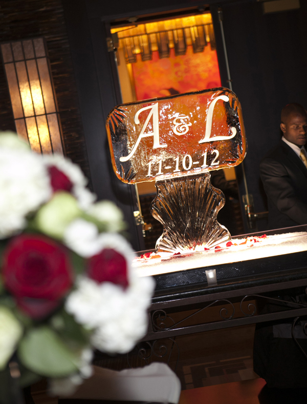 The seafood display was set around a monogrammed ice sculpture.