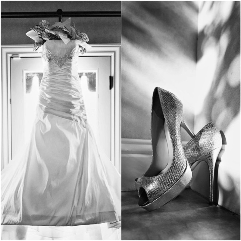 The bride's dress featured gorgeous beading and rusching. The shoes, of course, were Jimmy Choo. Photo by www.altf.com.